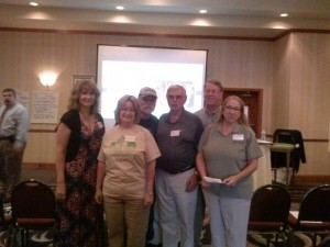 From left:  Donna Dorman, Becky Burkett, Ernie Burkett, John Curtis, Bob DeJean, and Debby Bobbitt.